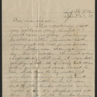 1918-04-21 Thomas Messenger to Vera Wade Page 1