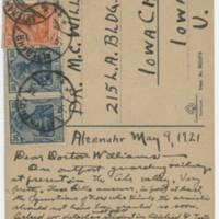 1921-05-09 Robert M. Browning to Dr. Mabel C. Williams - Postcard - Back