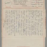 1943-05-30 Lloyd Davis to Laura Davis Page 1
