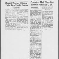 "1971-05-11 D.M. Register  Articles """"Student-Worker Alliance Fails; Boyd Snubs Protest"""" """"Protesters Mull Plans For Summer Action at U of I"""""