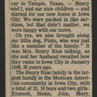 "1983-05-07 Iowa City Press-Citizen Article: """"The Rios and Martinez families happy in Iowa City"""" Page 2"