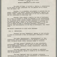 Statement of Purpose and By-Laws of the Mayor's Commission on Civic Duty Page 1