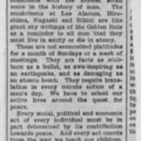 "1947-10-17: Des Moine Register Letter to the Editor, """"Burlington Observes Atomic Energy Week"""" by Robert M. Eckhouse"