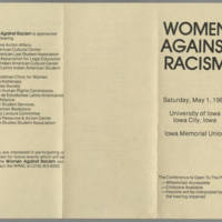 """1982-05-01 Program for """"""""Women Against Racism"""""""" Page 1"""