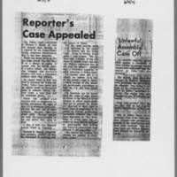 "1971-06-03 Iowa City Press-Citizen Article: """"Reporter's Case Appealed"""" 1971-06-04 """"'Unlawful Assembly' Case Off"""""