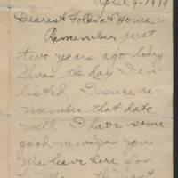 1919-04-09 Thomas Messenger to Mr. & Mrs. N.H. Messenger Page 1