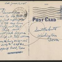 1945-06-13 Pvt. Werner M. Lowry to Dave Elder Postcard back