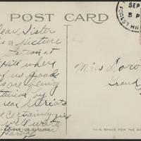 1917-09-30 Harvey Wertz to Miss Dorothy Wertz Postcard back