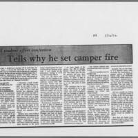 """1972-05-16 Daily Iowan Article: """"""""UI student offers confession; Tells why he set camper fire"""""""""""
