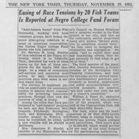 "1953-11-19 New York Times Article: ""Easing of Race Tensions by 20 Fisk Teams Is Reported at Negro College Fund Forum"""