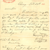 Correspondence from W. F. Gray to Thomas C. Durant, Chicago, Ill., 1868