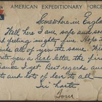 Thomas Messenger to Mrs. N.H. Messenger Postcard