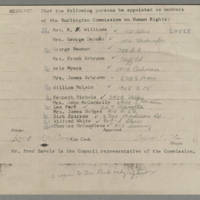 Persons to be Appointed a Members of the the Burlington Commission on Human Rights