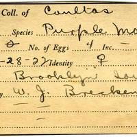 William F. Coultas, egg card # 022
