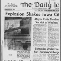 "1971-05-08 Daily Iowan Article: """"Explosion Shakes Iowa City Civic Center"""" Page 1"