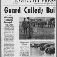 "1970-05-09 Iowa City Press-Citizen Article: """"Guard Called; Building Burns"""" Page 1"