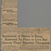 "1916-07-30 Des Moines Capital Clipping: """"Battlefield of Marne Is Being Restored As Place to Live But Graves There Number Thousands"""" by, Conger Reynolds Page 1"