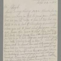 1943-09-22 F.L. Tunks to Lloyd Davis Page 1