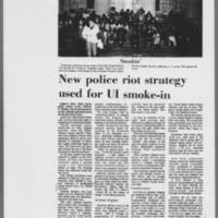 """1973-04-30 Daily Iowan Article: """"""""New Police riot strategy used for UI smoke-in"""""""""""