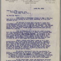 1919-04-30 Conger Reynolds to Dean George F. Kay Page 1