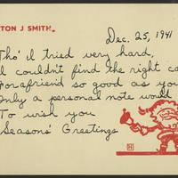 Burton J Smith greeting card, December 25, 1941