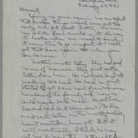 1943-02-24 Laura Davis to Lloyd Davis Page 1
