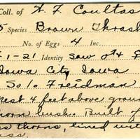 William F. Coultas, egg card # 009