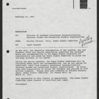 1993-02-19 Memorandum: Dorothy Persson to Officers of Academic Governance Senates/Councils, Advocacy Groups and Recognized Student Organizations Page 1