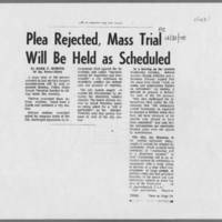 """1970-12-31 Iowa City Press-Citizen Article: """"""""Plea Rejected, Mass Trial Will Be Held as Scheduled"""""""" Page 1"""