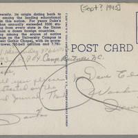 1945-09-30 Pfc. S.J. Hernandez to Dave Elder Postcard - back