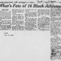 "1969-05-19 Des Moines Register Article: ""What's Fate of 16 Black Athletes?"""