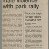 """1982-10-25 Daily Iowan Article: """"Women protest male violence with park rally"""" Page 1"""