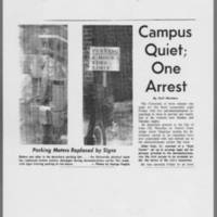 "1971-05-15 Daily Iowan Article: """"Campus Quiet; One Arrest"""" Page 1"