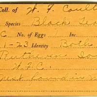 William F. Coultas, egg card # 019