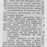 "1950-05-08 Burlington Hawkeye Gazette Article: ""Ask Firms for Self Survey Data"""