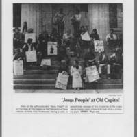 """1972-05-04 Des Moines Register Photo: """"""""'Jesus People' at Old Capitol"""""""" Page 1"""