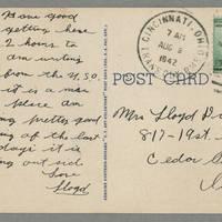 1942-08-09 Postcard Lloyd Davis to Laura Davis - back