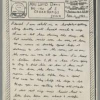 1943-08-11 Lloyd Davis to Laura Davis Page 1