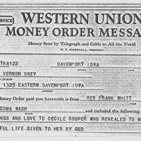 1970-10-29: Money Order, Rev. Frank Whitt to Mrs Vernon Oney