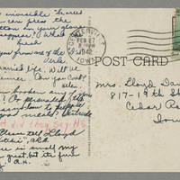 1942-02-27 Postcard to Laura Davis Hutchison - Back