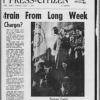"""1970-05-08 Iowa City Press-Citizen Article: """"""""Officials Show Strain From Long Week"""""""" Page 1"""