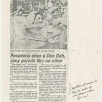 """1982-11-29 Tribune Article: """"Pasadena does a Doo Dah zany parade like no other"""""""