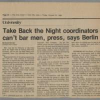 "1982-10-22 Daily Iowan Article: ""Take Back the Night coordinators can't bar men, press, says Berlin"""