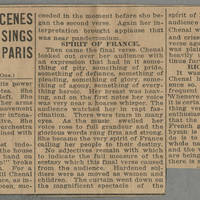 "1916-07-15 Des Moines Capital Clipping: """"Indescribable Scenes as Mlle Chenal Sings the Marseillaise to Vast Crowd in Paris Theater"""" by Conger Reynolds Page 3"