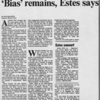 """1978-11-12 """"""""'Bias' remains, Estes says"""""""" Page 1"""