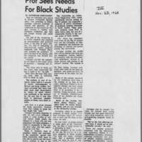 "1968-11-23 Daily Iowan Article: ""Prof Sees Needs For Black Studies"""