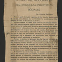 "1968-08-11 """"El Papel Del Mexicano En Rectificar Las Injusticias Sociales"""" [""""The Role Of the Mexican In Rectifying Social Injustices""""] by Ernest Rodriguez"
