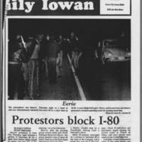 """1972-05-12 Daily Iowan Article: """"""""Protesters block I-80"""""""" Page 1"""