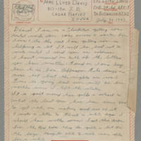 1943-07-26 Lloyd Davis to Laura Davis Page 1