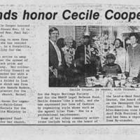 "Article: """"Friends honor Cecile Cooper"""""